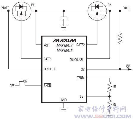 电池反接及过压保护控制器max16915