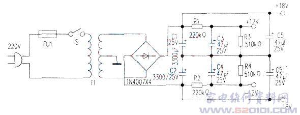 为重低音功放电路中的jrc4558运放供电