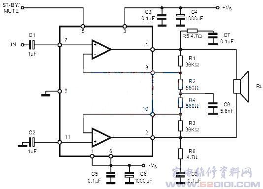 65单电源应用电路图(OTL电路):-双声道音频功率放大集成电路图片