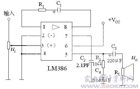 lm386内部电路图和外部接线图