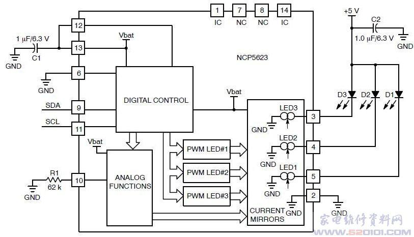 概述:NCP5623采用2.0 mm2.0 mm0.55 mm LLGA-14无铅封装。为高能效三路输出LED驱动器,带有I2C接口,并且内置渐进调光功能。该器件特别设计用于驱动手机和MP3播放器等便携产品中的三色RGB(红、绿、蓝)LED装饰光和增强型LCD背光。 通过其I2C接口接收处理器的指令,进行自动操作。它的三路控制电流输出各自独立,每路控制电流输出都具备0.