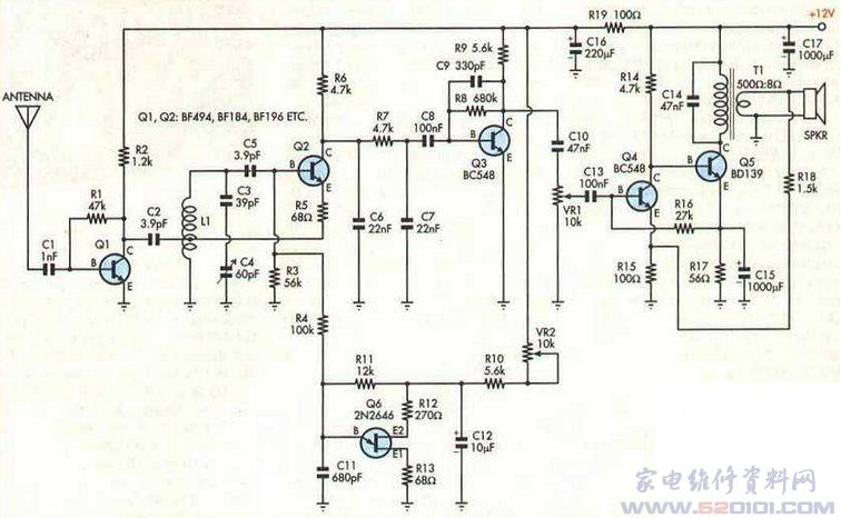 分立元件调频收音机制作电路图