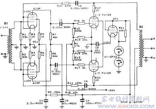 C1、C2是电压放大级和功率放大级间的耦合电容,该电容对音色有着较大的影响,有条件的话应尽量使用国内外优质的油浸电容,由于FU-29是一只高频功率管,在音频段使用尤其要注意其稳定性,在这里栅极设置了R16、R17,屏极设置了R19、R20等消振电阻。负压通过W1、R12、R13加到FU-29的两个栅极,确保FU-29处在正常的工作点上。R10、R11是两只负反馈电阻,与R3、R4共同组成环路负反馈,能起到稳定电路和减少失真的作用。C3和C4在这里起到高压隔离的作用,避免屏极高压对电压放大级工作点的影响。