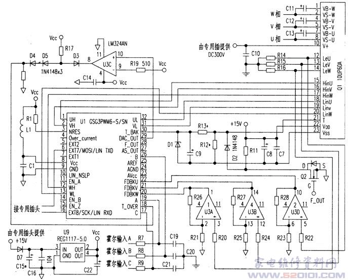 智能型直流无刷电机驱动芯片gsg3pwm6-s/sn