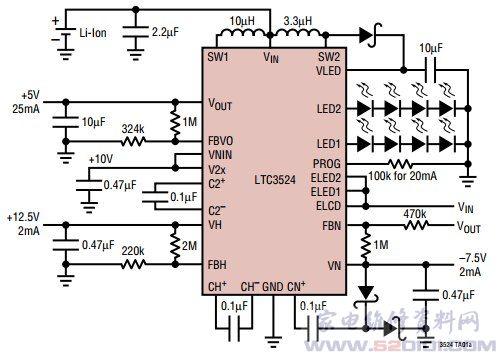 概述:LTC3524采用24引线QFN 封装 (4mm x 4mm x 0.75mm)。 一、LTC3524功能和特点:   产生3个可调、低噪声轨,用于中小尺寸TFT显示屏   驱动多达10个白光LED   LED调光和开路保护   受控加电/断电排序   以1.5MHz固定频率、低噪声工作   VIN范围为2.5V至6V,VOUT范围为3V至6V   TFT电源效率高达90%   LED电源效率高达78%   两个独立启动的LED串   200:1TrueColorPWM调光 可组成纤巧的外部解决方案