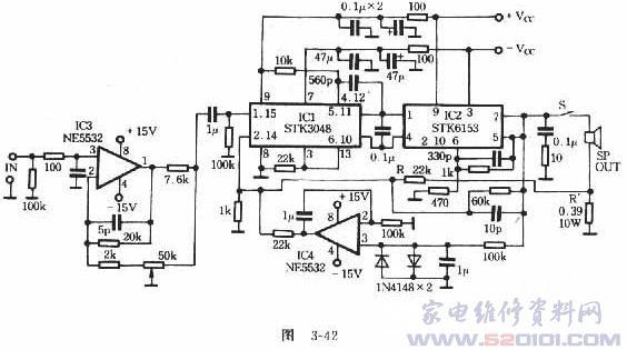 由stk3048和stk6153组成的功放电路如图3-41所示