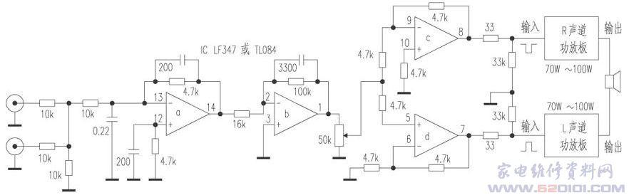 家庭影院必备一个有源超重低音音箱。推动超重低音的功放板,输出功率若能达到200W,则更能发出气势澎湃、震天动地的低频,因此一般都要用BTL输出。本电路适合无论是用分立元件或集成电路的单声道功放,不改一个元件即可组成BTL输出。原理非常简单,就是用两块LM3886或TDA7294单声道功放板,利用运算放大器改变输入信号相位,一块输入正信号,另一块输入负信号,两块功放即组成BTL电路,输出合成功率可达200W,电路见图。