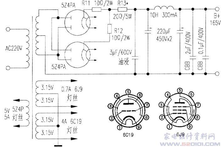 6C19是一只廉价的管子,许多人对它不削一顾。笔者第一次在地摊上看见它就非常喜欢,粗壮的栅丝,宽大厚实的屏极,虽然是小九脚单三极管,却有11W的阳极耗散功率。查手册得知,该管主要用于电子稳压装置中作电压调整管,其特点是低屏压,低内阻,大电流,以上参数说明6C19其实是一只很酷的管子。大名鼎鼎的300B当时开发出来,也是用作电压调整管的,后来被音响爱好者DIY,用于音频功率放大,才使其名声大噪。 笔者在多年的发烧过程中,始终保持着强烈的好奇心和动手欲望,正是看中了6C19内阻低的优点,对输出变压器的要求相对
