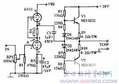 晶体管推挽3ad50功放电路