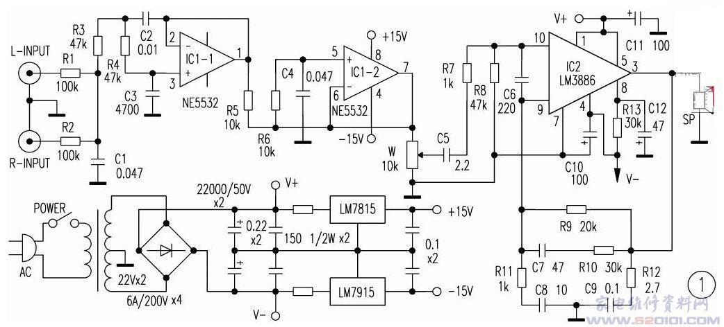 LM3886TF是美国NS公司推出的新型的大功率音频放大集成电路,其后面的TF为全绝缘封装,和 LM1875T相比,它的功率较大,在额定工作电压下最大可达68W的连续不失真平均功率,同样具有比较完善的过压过流过热保护功能, 最可贵的是它具有自动抗开关机时的电流冲击的功能,使扬声器能够安全的工作。 LM3886优异的性能,使得它在近几年音响制作中广泛的应用,许多成品功放机中就有直接的应用它担任后级功放或者用它作为重低音放大电路。采用了美国NS公司(国家半导体公司)推出的新型高保真音响功放集成电路LM388