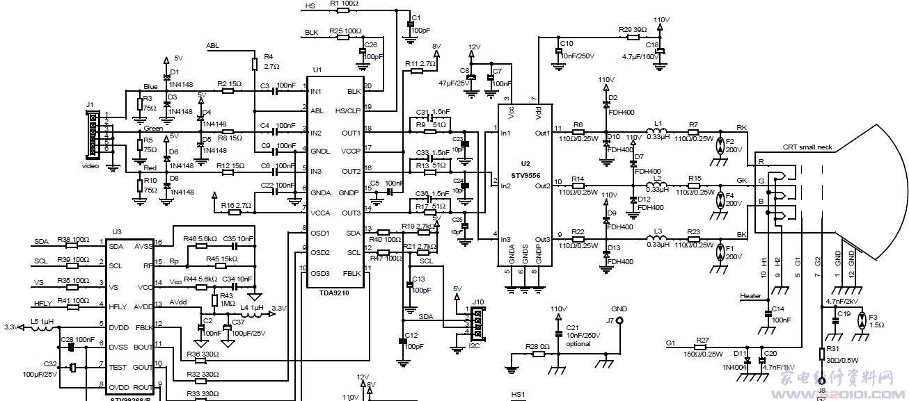 视频输出电路stv9556