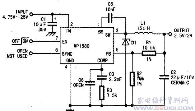 mp1580hs典型应用电路