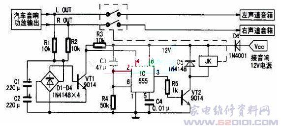 一、工作原理 扬声器保护电路如图1所示。主要由中点电位检测电路、延时电路及继电器等组成。电路工作过程是:   在接通音响电源的瞬间,因电容C3两端电压不能突变,可视为短路,则时基电路555的、脚电位高于2/3VCC,故555处于复位状态,脚输出低电平,晶体管VT2截止,继电器JK常开触点不动作。同时+12V电压通过电阻R4向电容C3充电,延时约5s(秒钟)后555的、脚电位降低至1/3Vcc,555被触发置位,脚由低电平变为高电平,晶体管VT2导通,继电器JK得电,常闭触点闭合,从而实现了延迟一