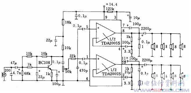 音响功放 → 正文  下图示出采用tda2005s双低频功率放大集成电路的扩