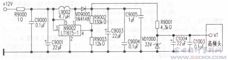 故障现象:有光栅,无图像,无伴音。 分析与检修:开机测得公共通道+12V、+5V工作电压正常,而测得高频头VT端+33V调谐电压却为0V,将电路与VT端断开,+33V电压仍为0V,说明故障发生在+33V电压形成电路上(如图)。 该机+33V电压形成电路采用新型微功率增强型DCDC升压变换器N9002(LT1615-1),+12V电压经N9002、L9002(4.7uH)升压,VD9000(1N4148)、C9003(22uF)整流滤波后,获得+35V直流电压,再经过R9001(4.