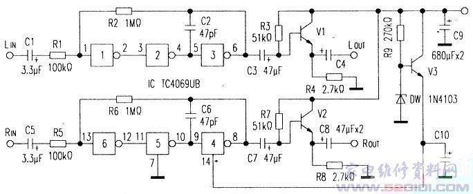 cd4069双声道线路放大器