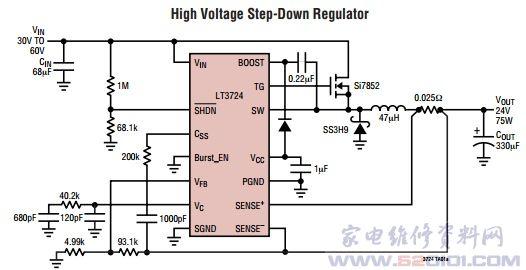 概述:LT3724采用耐热增强型16引脚TSSOP封装,具有高达100W输出功率的SEPIC电路。可以将4V至60V的输入电源电压转换成1.23V至36V的稳定输出。 适用于降压、升压、负输出或具有高达100W输出功率的SEPIC电路。电流模式工作具有多种好处,如在宽电压和负载电流范围内稳定工作、精确短路保护和快速电压及负载瞬态响应等。   为简化输出噪声过滤、缩小电感器和电容器尺寸并提高效率,在恒定的200kHz开关频率下工作。具有能驱动大型N沟道MOSFET的片上栅极驱动器。该控制器包括突发模式(Bu