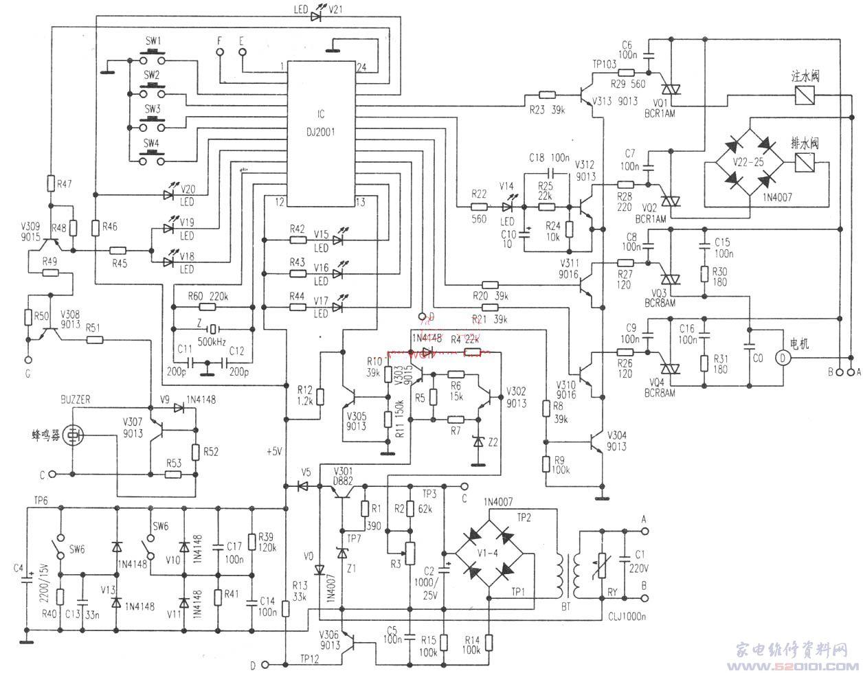 小天鹅xq830-8全自动洗衣机电脑板的检修与原理