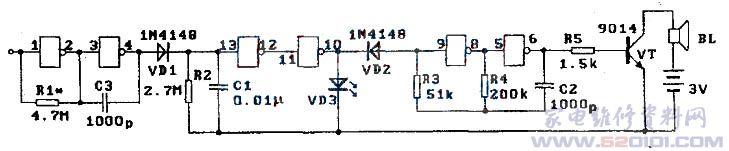 1、电路原理   感应式验电器也是采用CMOS数字集成电路CD4069六非门为核心元件构成的,如下图所示。电路由三部分组成。    (1)感应探头   由下图左边的两个非门构成。R1为工作点调整电阻,使(1)脚探头具有较高灵敏度(输入电阻高,放大能力又强)。(1)脚处焊接一根5cm左右长度的铜心绝缘导线,当它靠近220V火线时,受电场作用而感应交变电压,经两级放大,由(4)脚输出,经VD1整流、C1滤波在电阻R2上产生一高电平电压。电容C3具有抗干扰作用。 (2)电平检测与发光显示   由图l中间的两个非