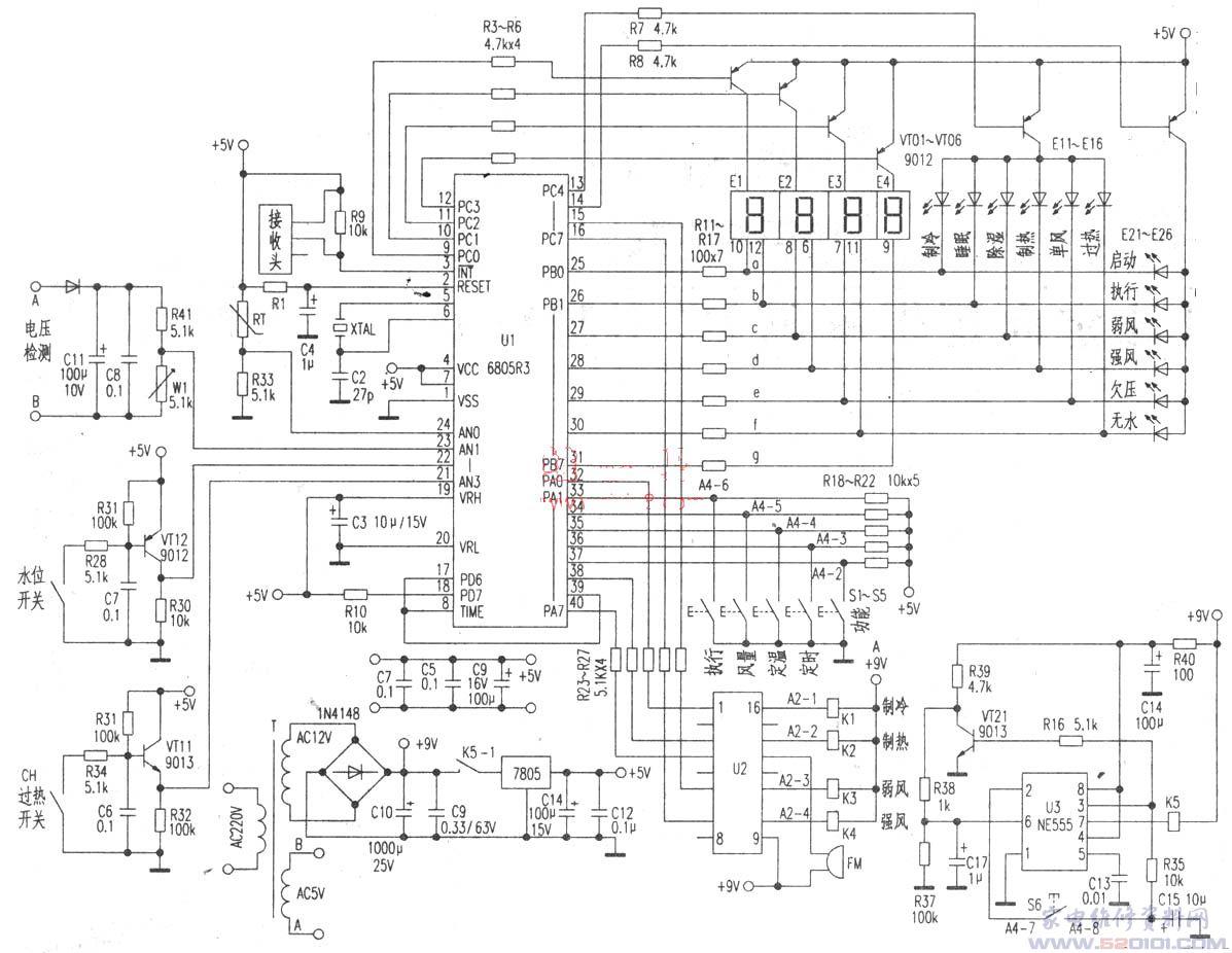 这是一种可移动的家用小型整体式空调器,其电脑控制电路见附图。 [例1]现象:接通电源后不工作。 分析与检修:拆开机壳、取出控制板通电。用万用表测整流后的+9V电压正常。测三端稳压器7805输出端电压为0V,输入端也无电压,说明K51接点未闭合。怀疑延时电路有故障。测u3、脚9V电压正常。测u3脚在延时期间有正常的9V高电平,但经3min后仍不见转变。按下强制启动开关S6,继电器K5仍不动作。取下u3,用一只新品NE555代换,试机无效。最后逐一检查u3外围元件发现三极管VT21c、e极间已开路损坏。