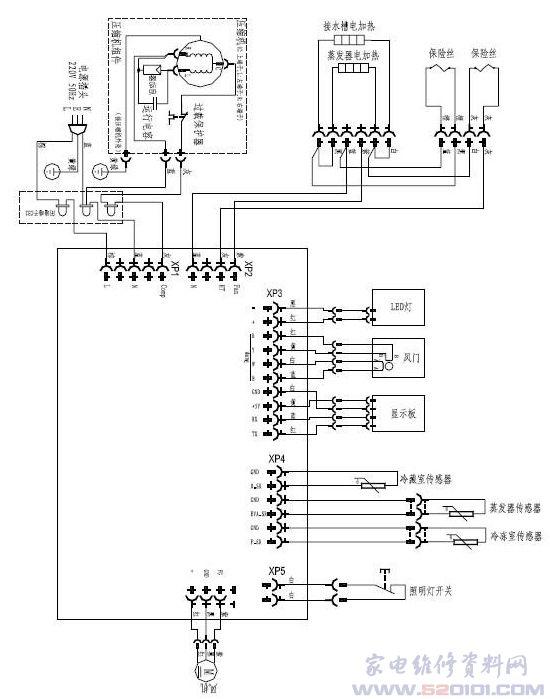 惠而浦bcd-315we3gw电冰箱电气接线图