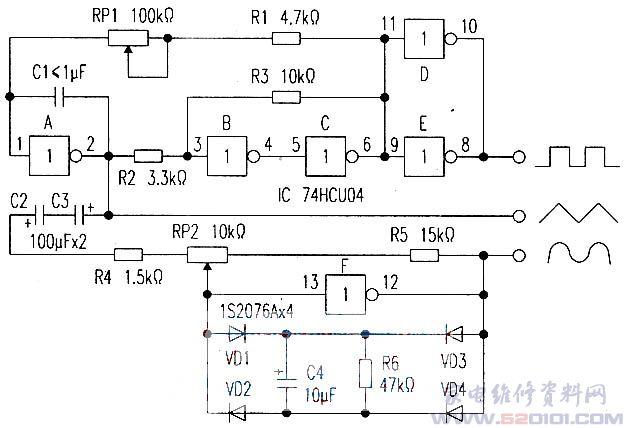 用vd1~vd4四只二极管组成电桥.对三角波顶部进行限幅,变换成正弦波.