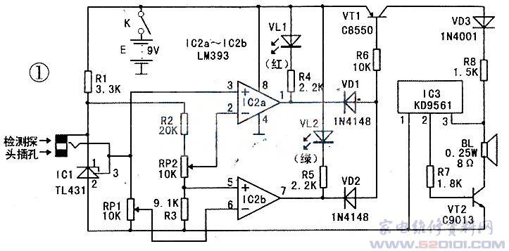 该砖瓦坯泥水份含量检测仪电路图见图1