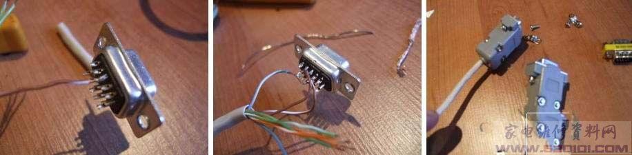 网线和vga头焊接好