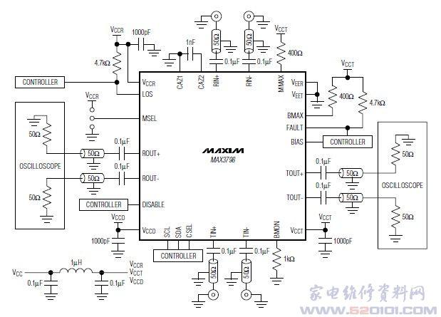 概述:MAX3798提供5mm5mm、32引脚TQFN封装,用于SFP+光纤通道和以太网。采用Maxim的MBIC3集成电路工艺制造,工作速率大于10Gbps、具有多种接收器和发送器可编程特性、且功耗仅为320mW。集两种芯片的功能于一体,为光纤通道(1x/2x/4x /8x)和以太网10GBASE-SR传输系统提供低成本、低功耗方案,从而简化了模块制造商的收发器BOM。 3线数字接口提供多种可编程功能,以优化性能。可编程接收功能包括:数据速率、LOS门限、LOS噪声抑制、LOS极性、CML输出电平、信号