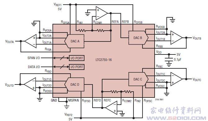 4路16位电流输出数模转换器ltc2755