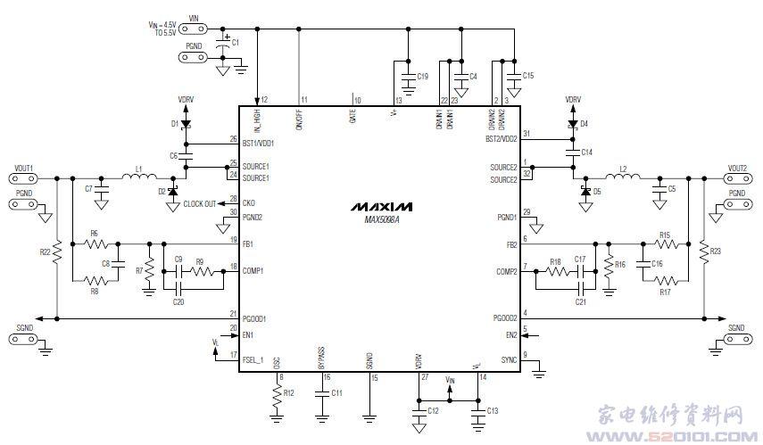 概述:MAX5098A提供增强散热的5mmx5mm、32引脚TQFN封装,带有裸焊盘,工作在-40至+125汽车级温度范围。提供2A和1A输出电流,工作电压可低至4.5V,具有可编程的200kHz至2.2MHz宽开关频率范围。 一、MAX5098A引脚功能  二、MAX5098A内部方框图  三、MAX5098A典型应用电路
