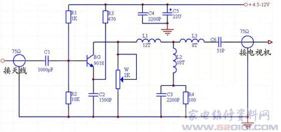 下图是个简单的单管电视天线放大器的电原理图。  它是一个共射极放大器。来自天线的信号经电容器C1耦合到晶体管BG的基极上(BG可选取9018、3DG80B、3DG56B等超高频管,要求截止频率>700MHz,噪声系数尽可能小),由集电极上的谐振回路取出。谐振回路由电感L1-L3、电容C6和输出端的分布电容组成。它调谐在45225MH2的频率范围内,对电视的12个频道均有放大作用。电位器W用来改善频宽,但增加频宽后增益将随之降低。电容器C5选择漏电较小的电解电容器,其他电容器均为圆片状高频瓷片电容。
