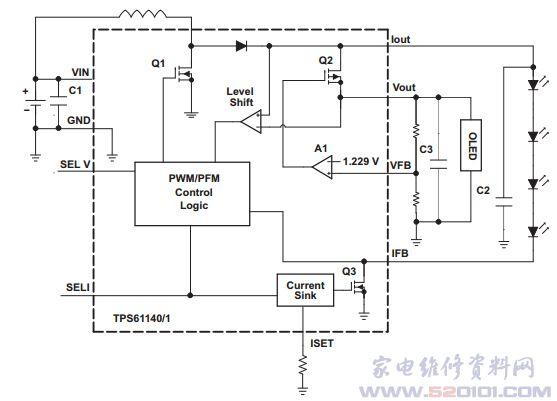 双稳压电流输出的白光led驱动电路tps61141