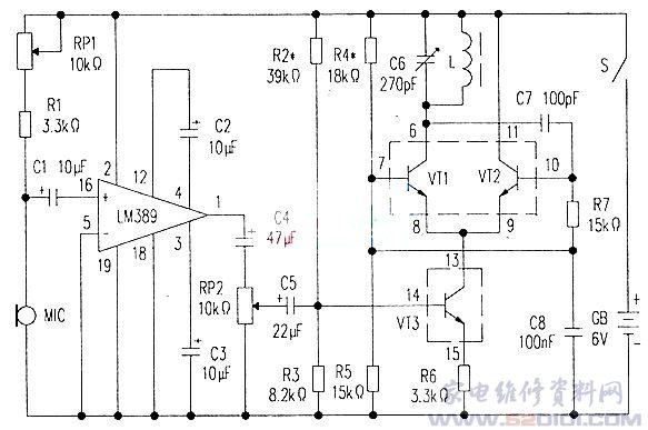 高保真调幅(am)无线话筒电路